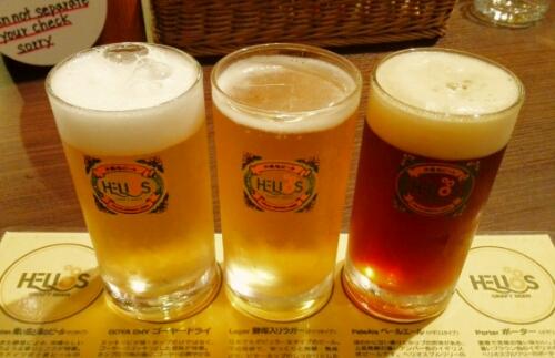 Three types of Helios beer