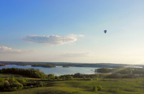 A hot air balloon over Trakai, Lithuania