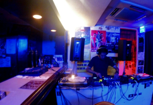 The DJ at Output Rock Bar in Naha, Japan