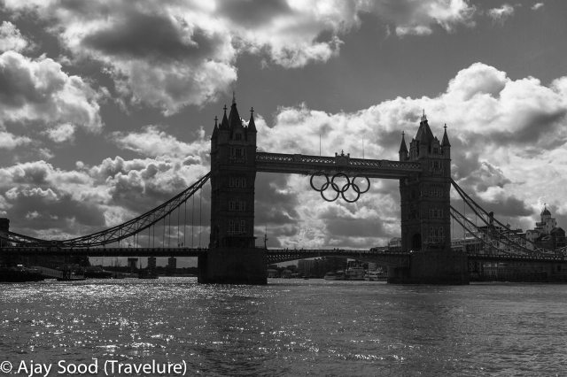 Tower Bridge proudly displaying the Olympic Rings marking London as the host city for 2012 Olympics