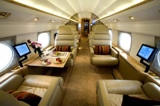 inside a private jet