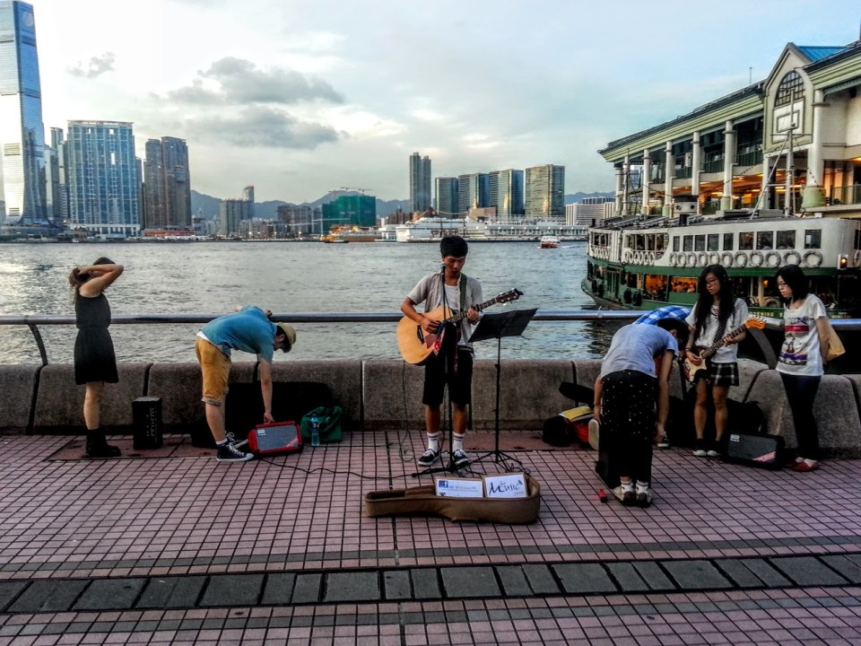 Singing on the waterfront in HK