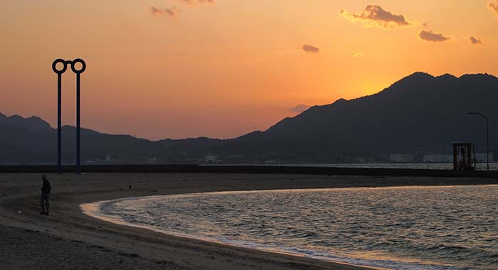 Sunset Beach at Seto Inland Sea Japan