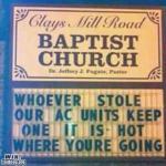 Bad Church Sign: Stolen AC