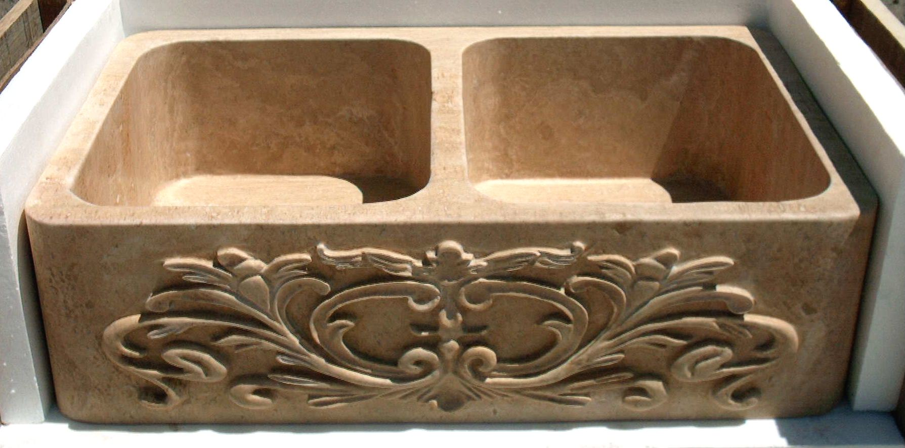 undermountstonekitchensinks undermount kitchen sinks Undermount or Drop In Kitchen Sink w Carved Front Apron available in travertine marble and onyx 36 Long starting at 00