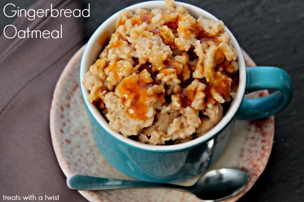 Gingerbread Oatmeal (treatswithatwist.com) #glutenfree #healthy #breakfast