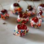 Sprinkle Covered Cherries // treatswithatwist.com