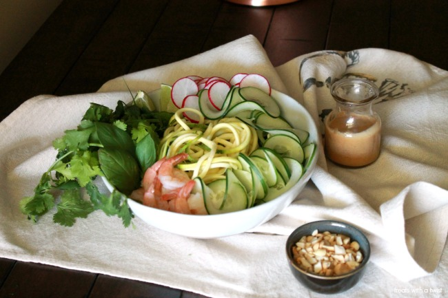 Spirilized Spring Roll Salad with Peanut Lime Dressing // treatswithatwist.com