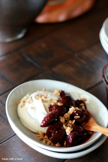 Whipped Coconut Cream with Syrupy Cherries and granola // gluten free, vegan // treatswithatwist.com