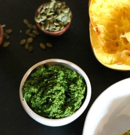 Pumpkin Seed and Kale Pesto // treatswithatwist.com