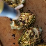Roasted Garlic Artichokes with Balsamic Reduction // treatswithatwist.com
