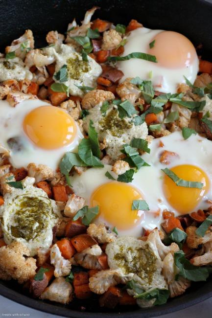 Sweet Potato Cauliflower Egg Skillet with Yogurt Pesto ...