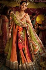 pakistani latest multi color bridal mehndi dresses 2013