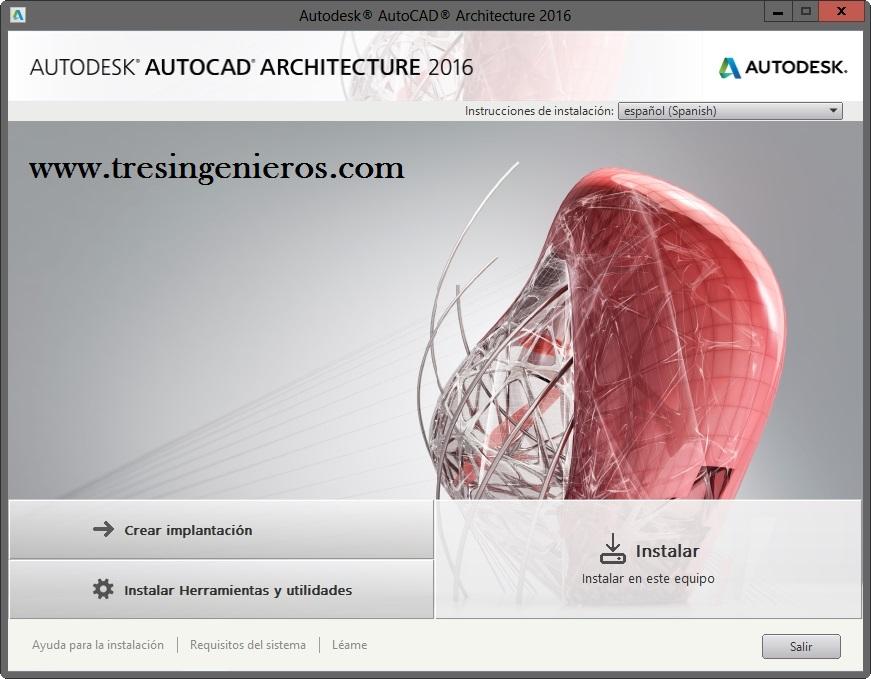 Autodesk Autocad Architecture 2016 Español - 2 link - 64 bit - 32 bit - enlace directo