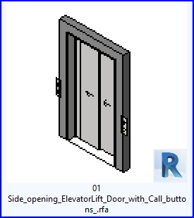 Familias para Revit | 42 puertas de ascensor | 01 abertura lateral Ascensor Puerta con botones de llamada .rfa