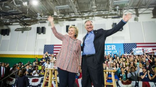 Hillary Clinton with Tim Kaine earlier this month via Twitter