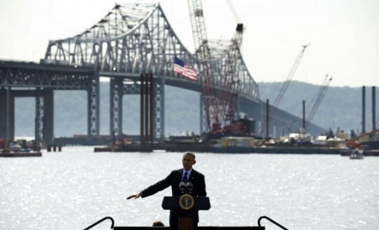 President Obama speaks about transportation infrastructure during a visit to the Tappan Zee Bridge