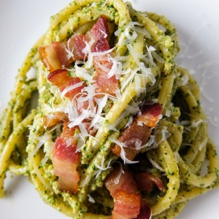 Cilantro Pesto Pasta with Bacon