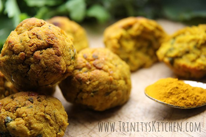Turmeric & Sweet Potato Falafel Bakes - vegan, gluten-free