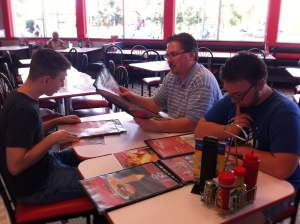 Here we are sitting at Zack's favorite, Steak 'n Shake.