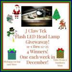 J Claw Tek Flash LED Head Lamp #Giveaway Ends Dec. 25