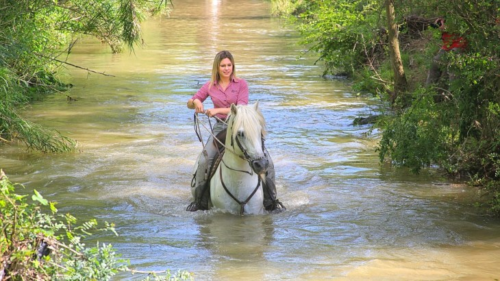 woman on a horseback riding
