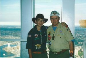 Bill and Alex at the World Trade Center during the Jamboree 2001 trip.