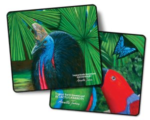 Cassowary & Eclectus Parrot 2 Pack Coasters