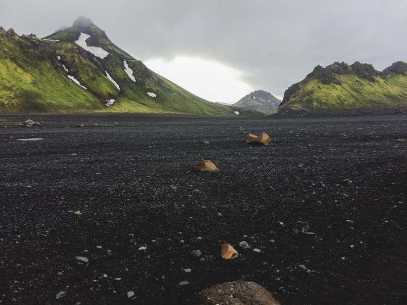 Landmannalaugar trail - volcanic ash and green mountains