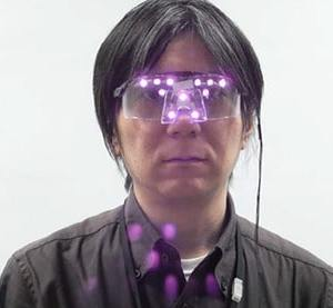 The glasses stymie facial recognition software with infrared LED light. (Image from press release of The National Institute of Informatics, Japan)
