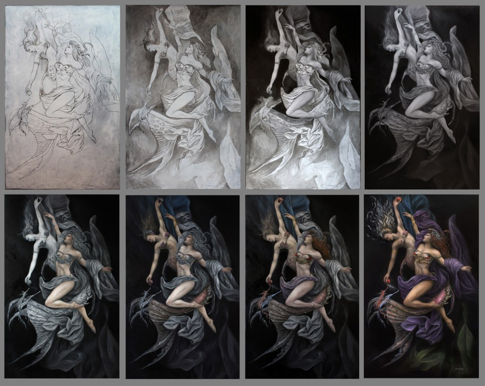 Amphitrite and the Siren - Stages