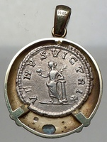Certified Authentic Ancient Silver Roman Coin of Empress Set in Gold With Topaz for Sale online Custom Jewelry
