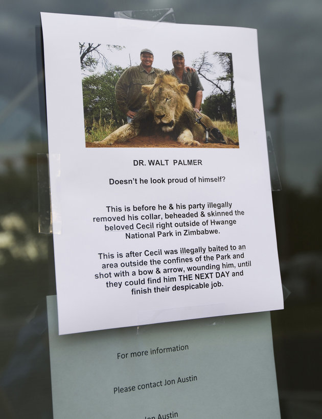 """A sign posted on the door at River Bluff Dental on Tuesday, July 28, 2015 in Bloomington, Minn. River Bluff Dental owner Dr. Walter Palmer has gotten criticism over the sport killing of a beloved lion in Zimbabwe named """"Cecil."""" (Renee Jones Schneider/Minneapolis Star Tribune/TNS via Getty Images)"""