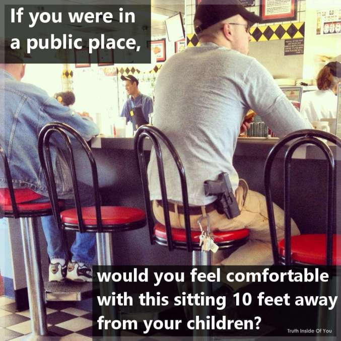 If you were in a public place, would you feel comfortable with this sitting 10 feet away from your children?