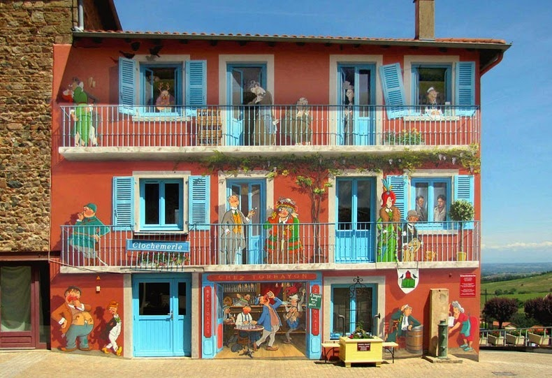 Artist from France paints colourful neighborhoods in cheerless walls.8