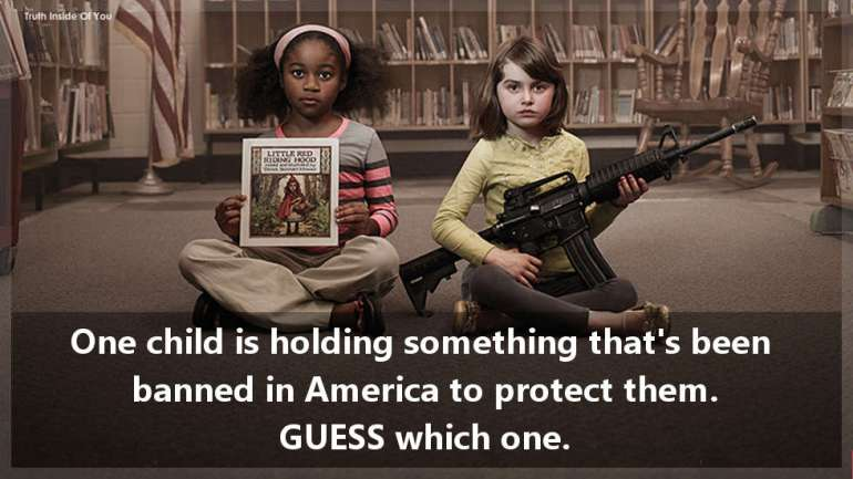 One child is holding something that's been banned in America to protect them. GUESS which one.