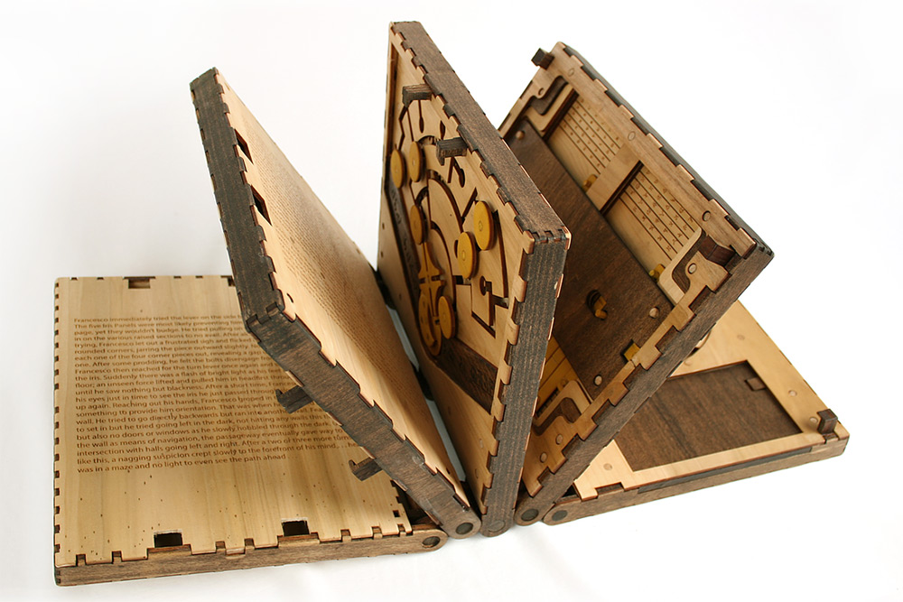 Incredible Wooden Book Is a Series of Puzzles That Have to Be Solved to Continue Reading.