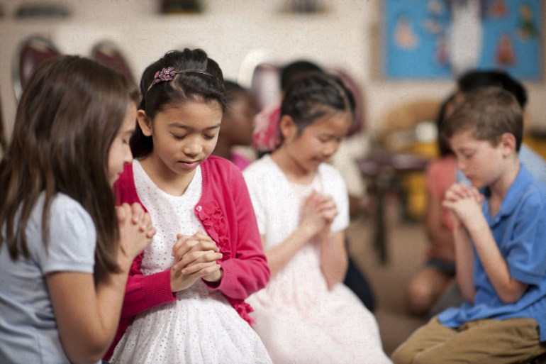 Children in a religious program