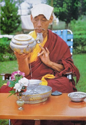 His Holiness Kyabje Zong Rinpoche of Gaden Monastery was famous for his knowledge of Sutra and profound mastery of Tantra. Rinpoche by the monastery and the laity to perform many well-known as well as obscure rituals, as he had proven the effects of his rituals. He was well-known to bring rain to drought-stricken areas and was famous for this among his other brilliant accomplishments.