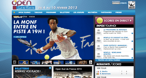 Open Sud de France website