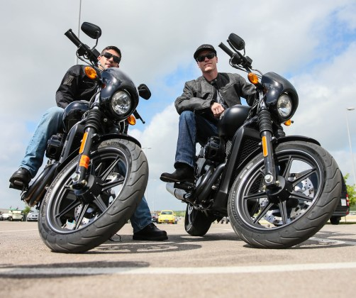 Tyler Tate (left) Chad Kagy (right) Harley Davidson Street 750 test drive; X Games Austin 2014; Photo: Harley Davidson