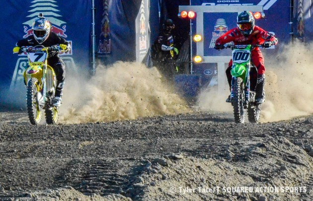 James Stewart (7) Josh Hansen (100); Quarterfinals; Red Bull Straight Rhythm; Open Class; Pomona Auto Club, California; October 3-4, 2014; Photo: Tyler Tate/T Squared Action Sports