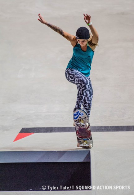 Leticia Bufoni; Street League Skateboarding Super Crown; United Center Pavilion; Ocotber 3-4, 2015; Photo: Tyler Tate/T Squared Action Sports