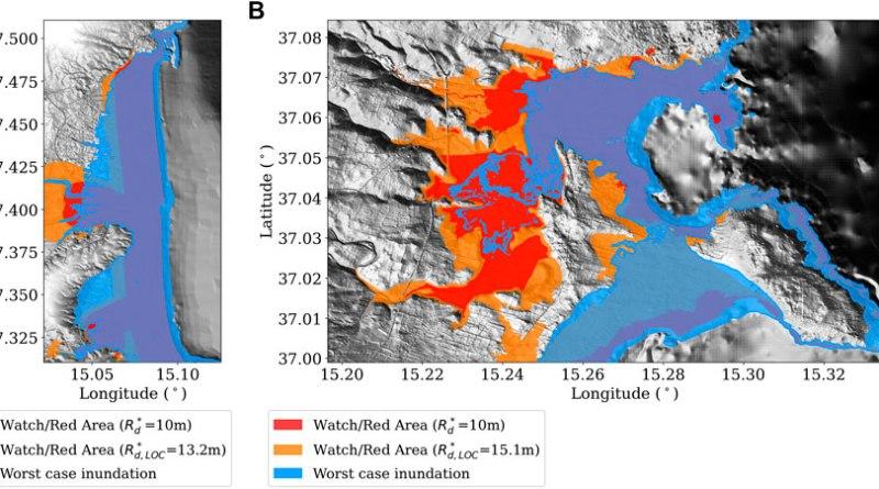 Worst-case tsunami inundation scenario for Catania (A) and Siracusa (B).
