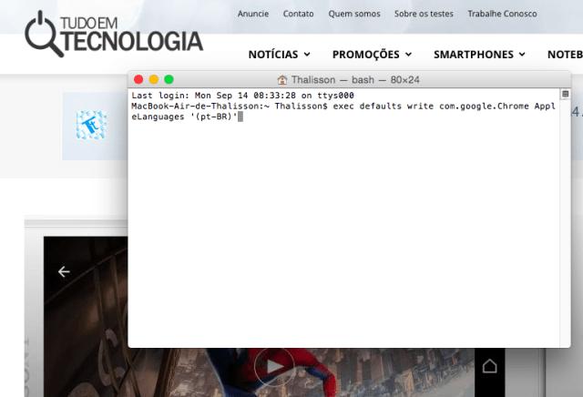 Como deixar Chrome em português no Mac