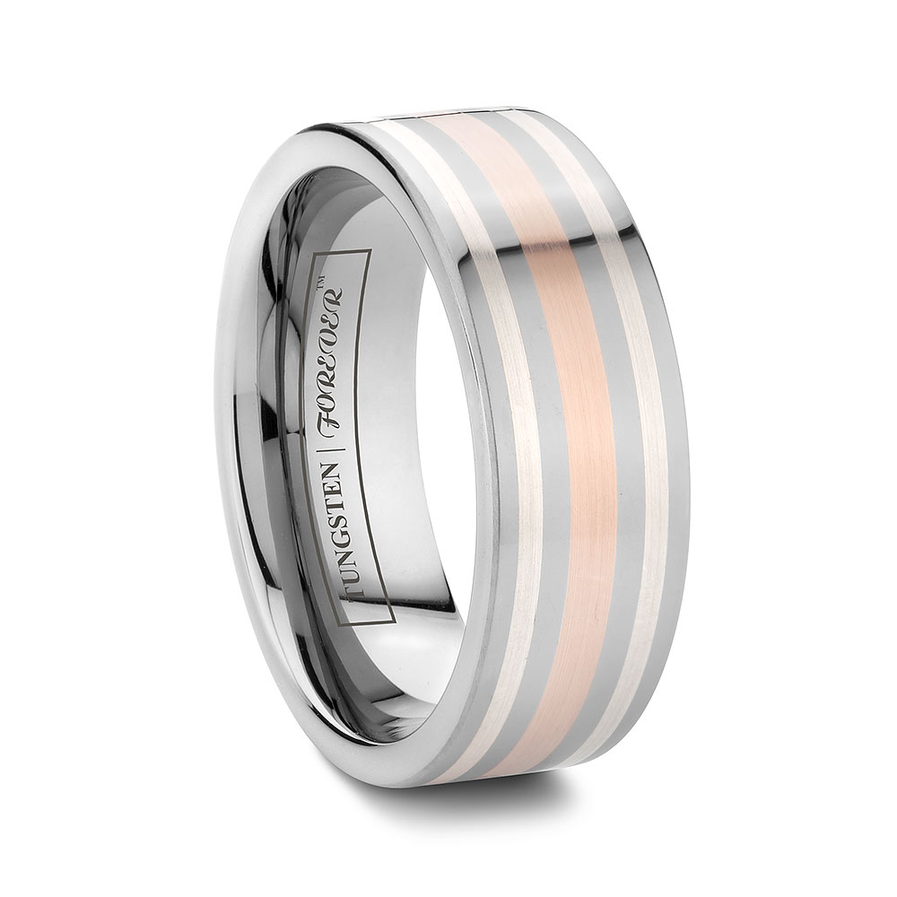 mens wedding bands rose gold inlay overstock mens wedding bands Magna Mens Rose Gold and Silver Inlay Tungsten