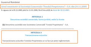 2. Act constitutiv forma initiala