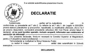 Declaratie pe propria raspundere magistrati