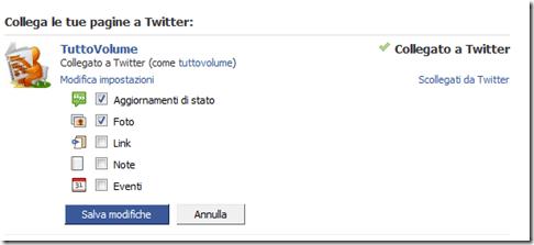 pagine facebook collegate con twitter