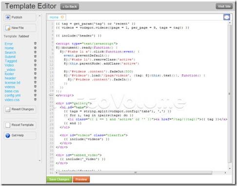 VodSpot-template editor